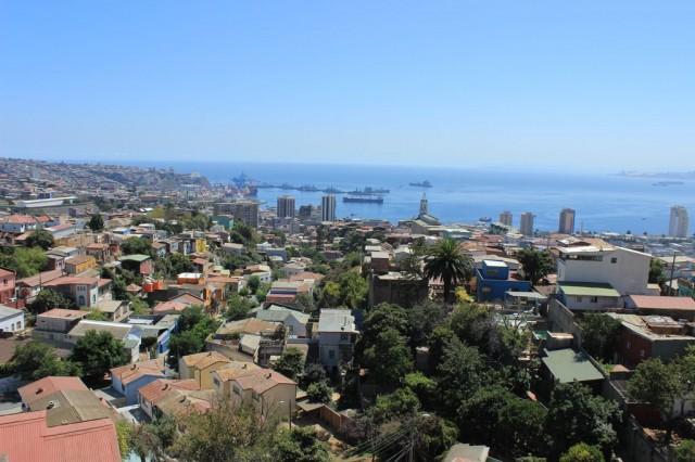vue de la maison de Pablo Neruda à Valparaiso